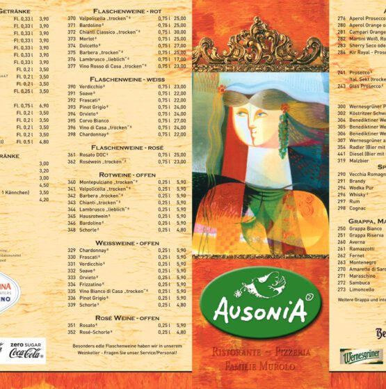 Ausonia2 Speisekarte Front